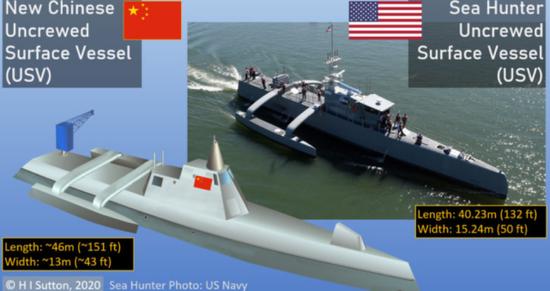 美媒:中国新型三体无人战舰曝光 比以往型号大得多