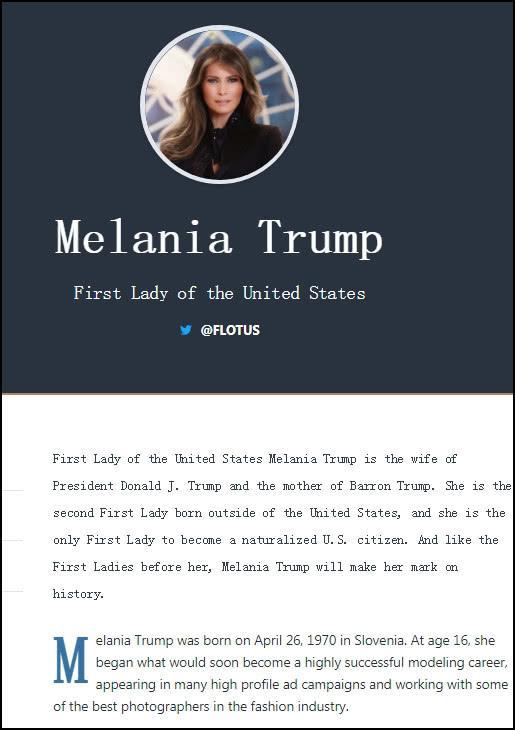 白宫网页上梅拉尼娅的个人介绍,出生于斯洛文尼亚