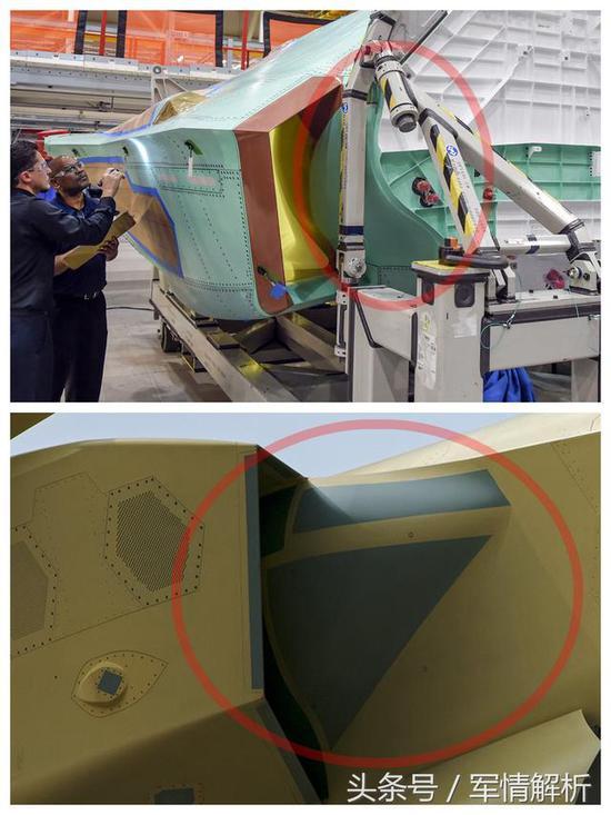 (F35与歼20的DSI进气道鼓包对比)