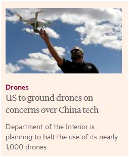 美国内政部拟停飞中国产无人机 遭多部门反对