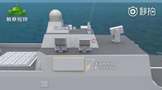 055型驅逐艦安裝了米波相控陣雷達。 圖片來源見水印,非常感謝作者。