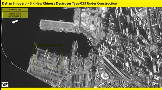 2018年1月的大连造船厂卫星照片