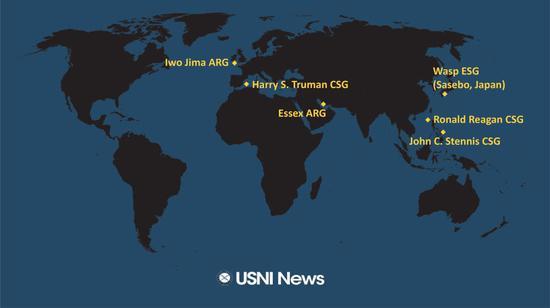 美媒:美军里根号航母进入中国南海 与多艘美舰会合
