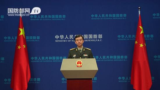 """吴谦就""""与台湾交往法案""""发表谈话,表示坚决反对(视频截图)"""