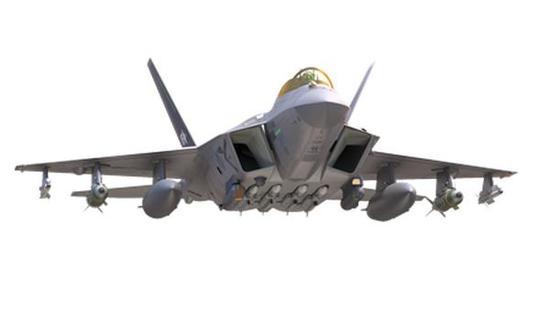 ▲KF-X重新设计之后的方案,采用翼下挂架和半埋式挂架