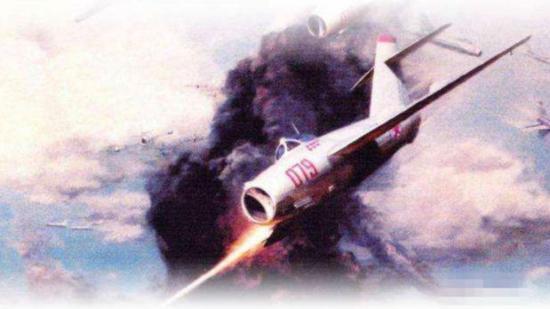 描述王海在空战中痛击美军战机的艺术画