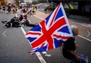 這名老太太曾多次持英國國旗參與反對派示威。