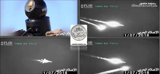 图为胡塞武装击落/击伤沙特F-15战斗机的红外录像图。
