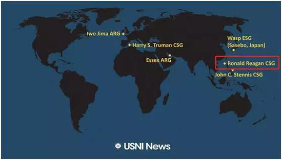 红色框内是里根号航母位置