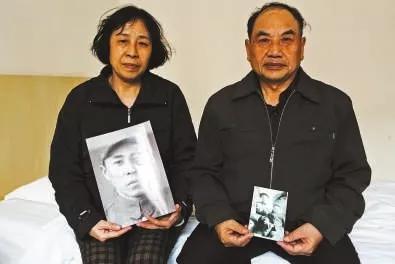 志愿军烈士邓仕钧的儿子邓其平(右)、女儿邓菊平(左)。