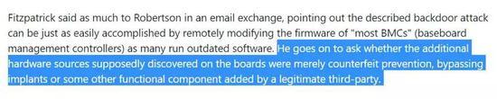 但罗伯特森却在回信表示,因为有大量信源可以证实,所以他觉得报道没问题。