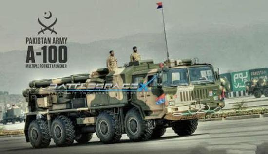 图片:巴基斯坦阅兵中展示的中国产A100远程火箭炮。