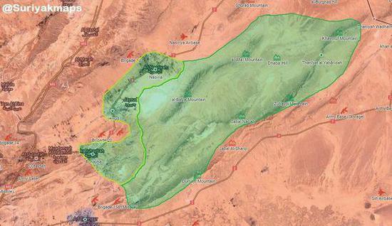 图为战前东卡拉蒙地区的形势对比。绿色为FSA等叛军盘踞的地区,红色为政府军控制的地区。