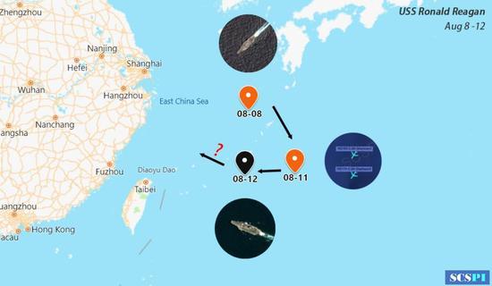 """美部长""""访台""""前后 美军里根号航母绕台湾周边机动"""