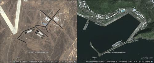 沙漠中为进行试验而搭建的模拟台湾花莲军港的设施