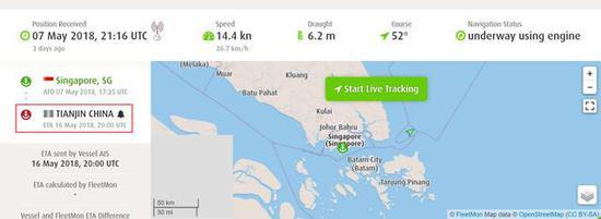 ▲NIKIFOR BEGICHEV号货船实时位置,刚过新加坡,预计16日抵达天津港