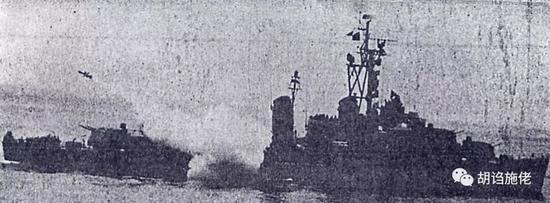 """▲ 据说是试射中的""""衡阳""""舰,可见舰尾的127毫米双联炮塔还没有拆除"""