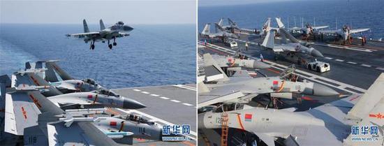 """▲正在准备降落、转运以及此刻停在""""辽宁舰""""甲板上的J15(图片来源:网络)"""