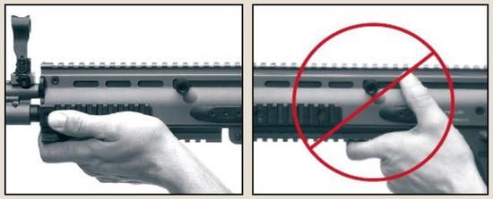 △ 03式的拉機柄只是有打手的嫌疑,但FNSCAR的拉機柄若不采用正確姿勢是真的會打手……