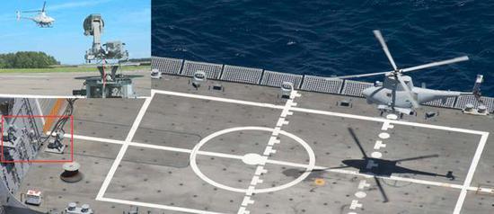 (濒海战斗舰上正引导RQ-8无人机自主回收的精密跟踪雷达)