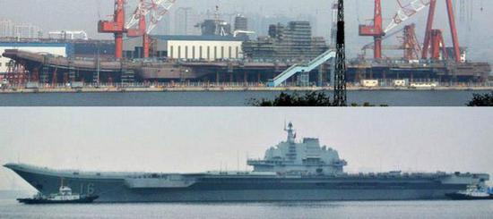 图为首艘国产航母和辽宁号的同角度对比图。