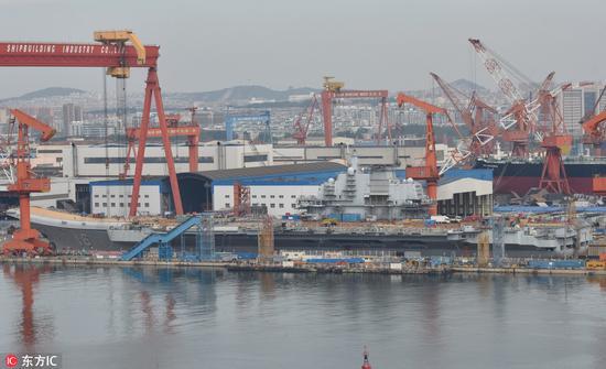 船坞中正在改装的辽宁号航母(图片来源:东方ic)