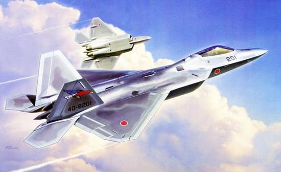 图为日本模型封绘对F-22J的想象效果图。