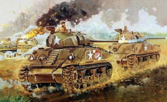 諾曼底前線的美軍坦克,而法國軍官則在喝著紅酒
