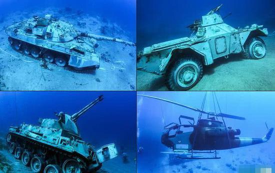 """海底""""重生""""?约旦将坦克、直升机沉海发展特色旅游"""