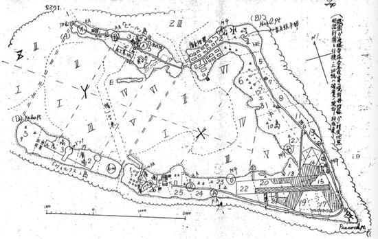 日军为进攻作战绘制的威克岛军用地图