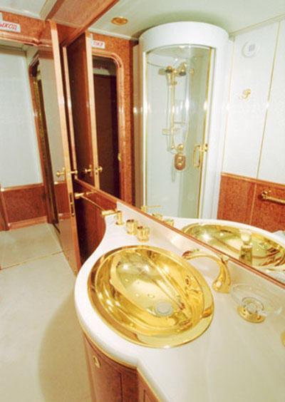 还备有浴室和淋浴间,当然也少不了金边装饰。