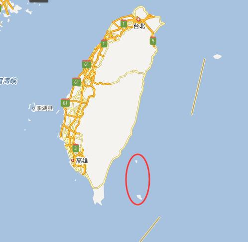 红圈处北为绿岛南为兰屿