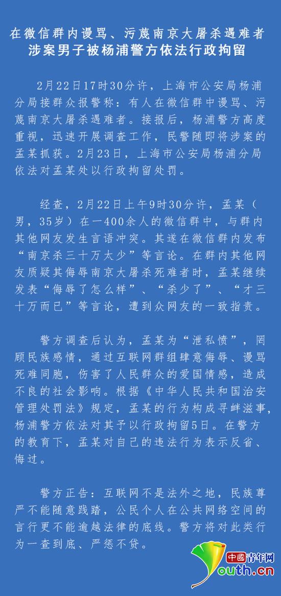 警方关于孟某微信群污蔑南京大屠杀遇难者事件处理通报。来源杨浦警方官方微博