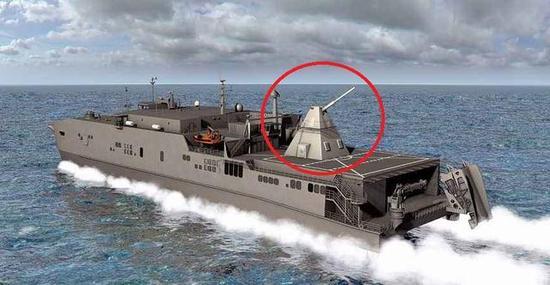 美军电磁炮上舰效果图。