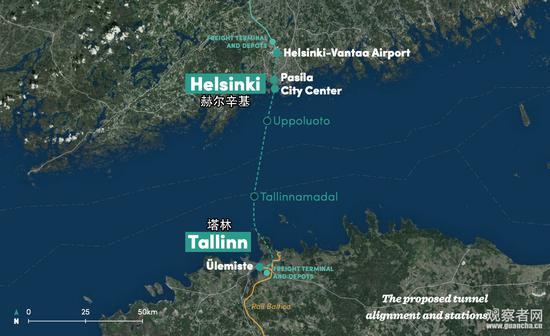 赫尔辛基至塔林海底隧道示意图
