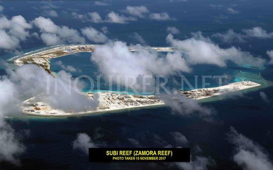 菲律宾展示中国南海岛礁航拍照:各主要设施都已成形