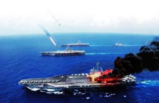 资料图:航母被导弹击中