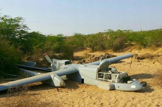 坠毁的印度苍鹭无人机