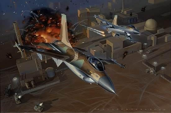 ▲巴比伦行动中远程奔袭的F16