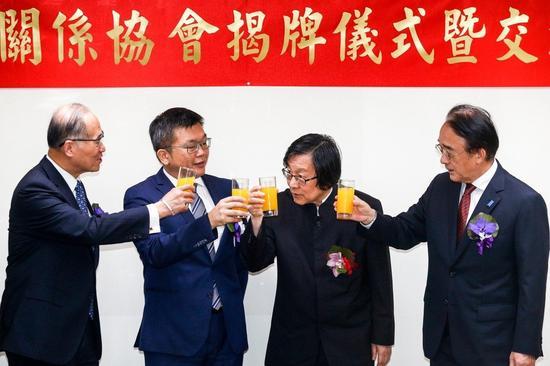 """更名揭牌仪式现场,台""""外长""""李大维在列(联合新闻网 图)"""