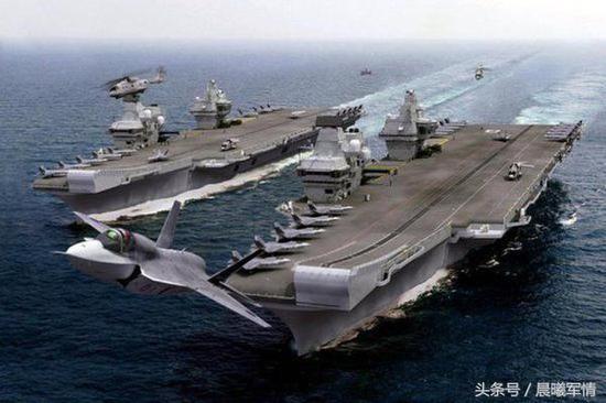 英国海军新一代双航母编队想象图