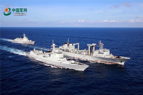 中国海军2017远海训练编队资料图片。