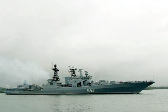 俄军无畏级驱逐舰起火 太平洋舰队反潜能力损失1/4