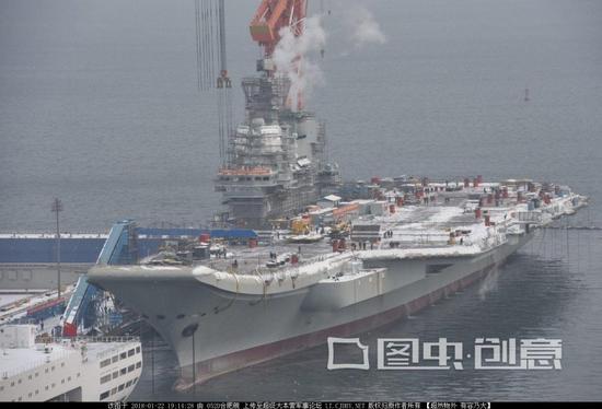 国产航母舰岛安装落地窗 已有部分海军士兵上舰(图)