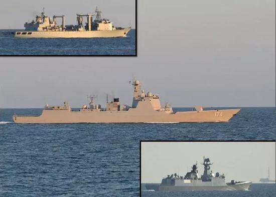 23型护卫舰所监视的中国海军编队驶往俄罗斯