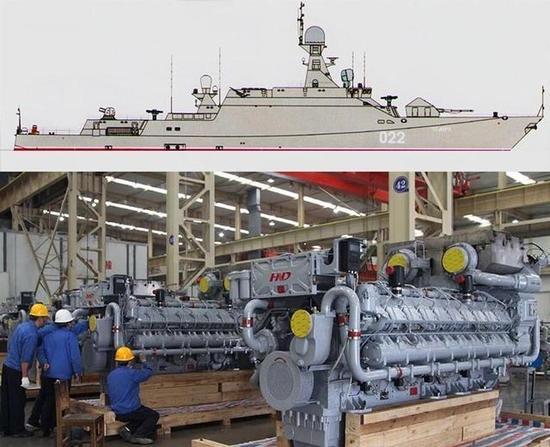 上图是俄护卫舰下图是中国柴油机