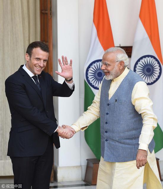 马克龙对印度开展为期三天的访问(视觉中国图)
