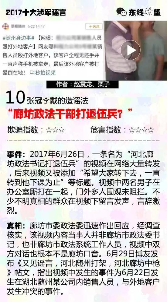 (原标题为《盘点:2017十大涉军谣言!造谣手法全揭秘》)