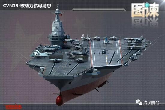 网友绘制的国产核动力航母想象图(图片来源于:网络)