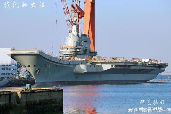 中国国产航母顶板雷达开始转动 或测试内部系统(图)猴屿洞天岩
